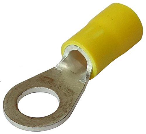 Aerzetix: 10 Kabelschuhe Elektroflachhülsen Auge Öse M6 Ø6,5mm 2.5-6mm2 gelb isoliert