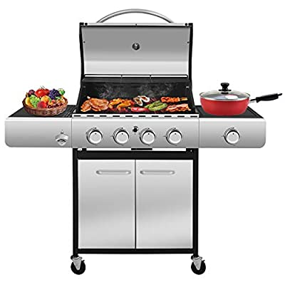 RMYHOME BBQ Liquid Propane Gas Grill Stainless Steel 42,000 BTU Patio Garden Barbecue Grill with Built in Thermometer, Removable Wheels (Four Burners)