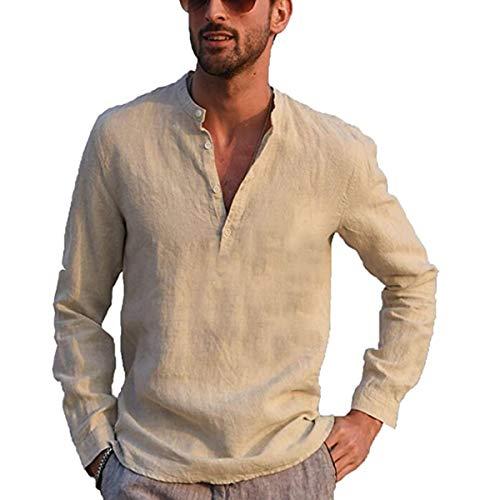 Votuleazi Camicia a Maniche Lunghe da Uomo Camicia in Cotone e Bottone Lino Colletto alla Coreana Elegante Camicia Hippie (Cachi, Large)