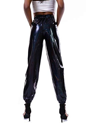 Fashion Shopping Zaxicht Women's Metallic Shinny Pants, Casual Holographic