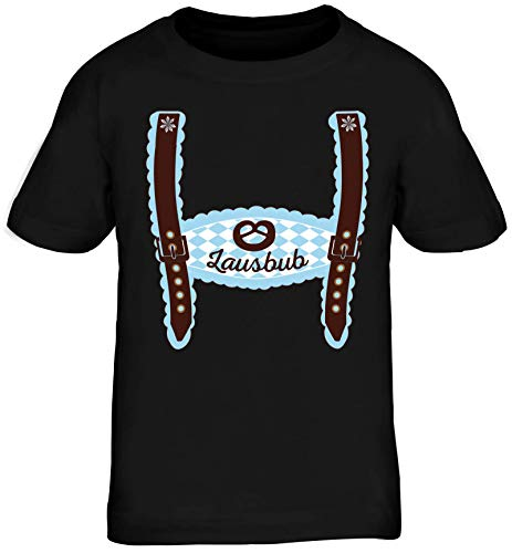 ShirtStreet Wiesn Kinder T-Shirt Rundhals Mädchen Jungen Oktoberfest - Junge Lederhose Lausbub, Größe: 134/146,schwarz