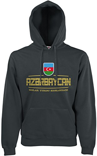 AkyTEX Aserbaidschan Azerbaycan Fan-Hoodie EM-2021 Kapuzenpullover Graphit M