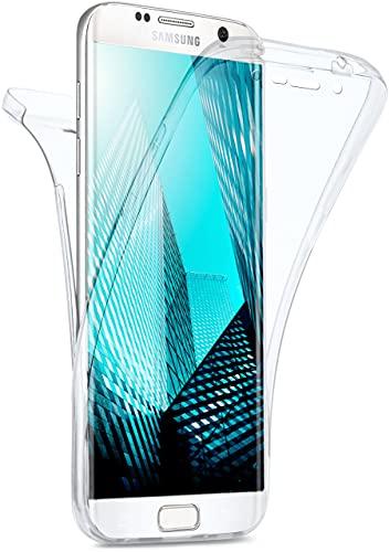 moex Double Hülle für Samsung Galaxy S6 Edge Hülle Silikon Transparent, 360 Grad Full Body R&um-Schutz, Komplett Schutzhülle beidseitig, Handyhülle vorne & hinten - Klar