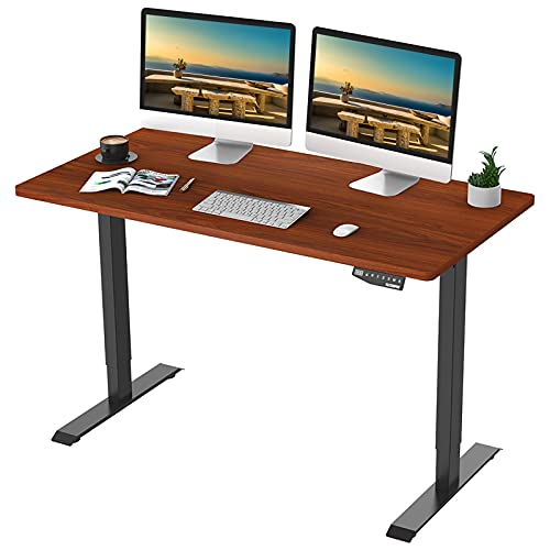 Flexispot EN1 Standing Desk 55 x 28 Inches Electric Stand Up Desk Workstation, Ergonomic Memory Controller Standing Height Adjustable Desk Top Primo(Black Frame + 55' Whole-Piece Mahogany Top)
