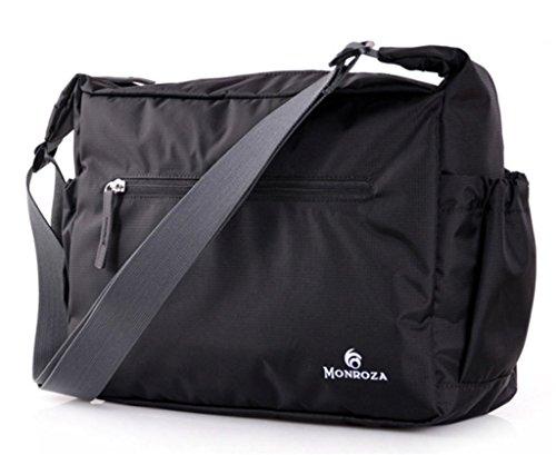Bagtopia Men & Women's Ultra Light Nylon Cross Body Shoulder Bag Water Resistant Foldable Messenger Bag Black