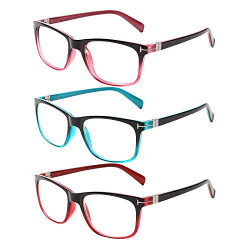 Kerecsen 3 Pack Lesebrille Damen Federscharniere Gute Brillen Hochwertig Rechteckig Komfortabel Frauen Lesehilfe (2.5, 3 Farbe Mischen)