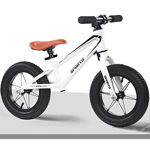 Bicicleta Sin Pedales Equilibrio Niños, Niño Bicicleta de Equilibrio Con 12 Pulgadas Llantas de Aire Ensanchadas, Sin Pedal Bicicleta Deportiva para Caminar para La Altura del Niño: 95-130cm, Marco de