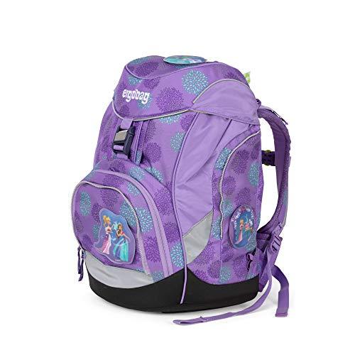 ergobag pack Set - ergonomischer Schulrucksack, Set 6-teilig, 20 Liter, 1.100 g - SchlittenzauBär Glow - Lila