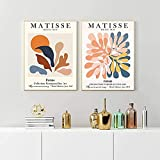 XMYC Póster Obras de Arte Henri Matisse Exposición de Obras de Arte Póster Impresiones Galería de Pintura Creativa Decoración para Sala de Estar 2 Piezas 50x70cm sin Marco