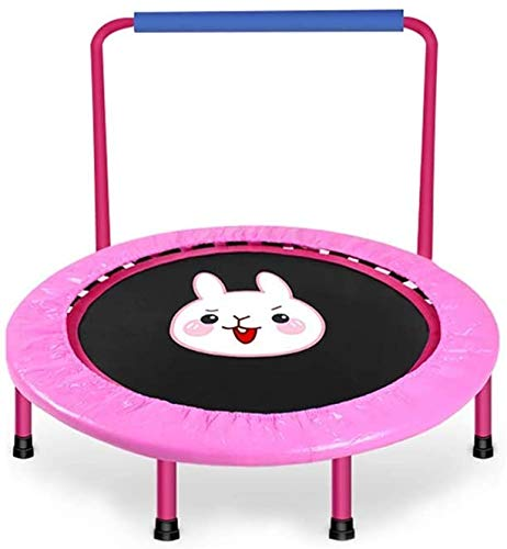 YIHGJJYP Foldable Fitness Bouncer with Padding Children's trampoline 40' for children safety housing Net Indoor Outdoor Rebounder boys girls 264Lbs Load Classic-Pink