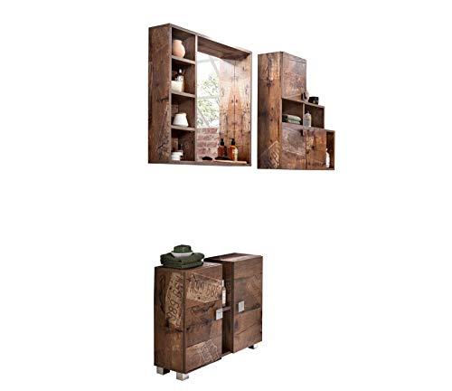 lifestyle4living Badmöbel Set in Panamaeiche-Dekor | 3 teilige Badezimmermöbel mit Waschbeckenunterschrank