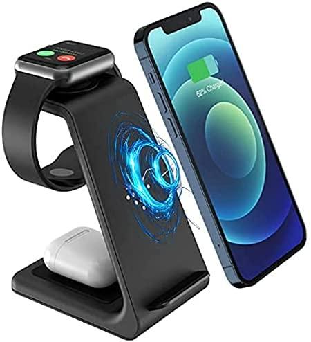 BEST UNION Wireless-Ladestation, 3 in 1 Stand für kabellose Schnellladestationen Kompatibel mit Apple Watch SE 6/5/4, Kompatibel mit air Pods Pro/2,iPhone 12/11/Pro Max/XR Max und Qi Zertifizierte