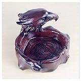 Cenicero chino retro creativo personalidad rojo águila imitación madera resina oficina salón cenicero (color: marrón) YXF99 (color: marrón)
