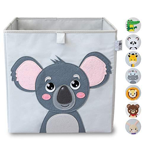 wonneklein Aufbewahrungsbox Kinder I Spielzeugkiste Kinderzimmer I Spielzeug Box (33x33x33 cm) zur Aufbewahrung I Ordnungsbox I Kallax Box I grau mit Tier Motiv als Deko (Koko Koala)