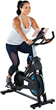 Exerpeutic Bluetooth Indoor Cycling Bike with MyCloudFitness App (4208), Black and Blue