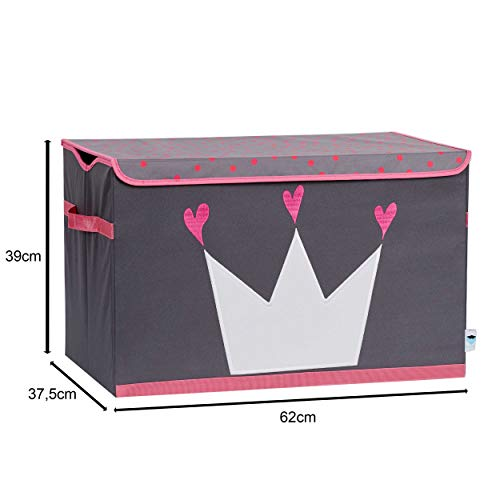 Store It 670407 Spielzeugtruhe, Polyester, Krone - grau/weiß/pink, 62 x 37,5 x 39 cm - 2