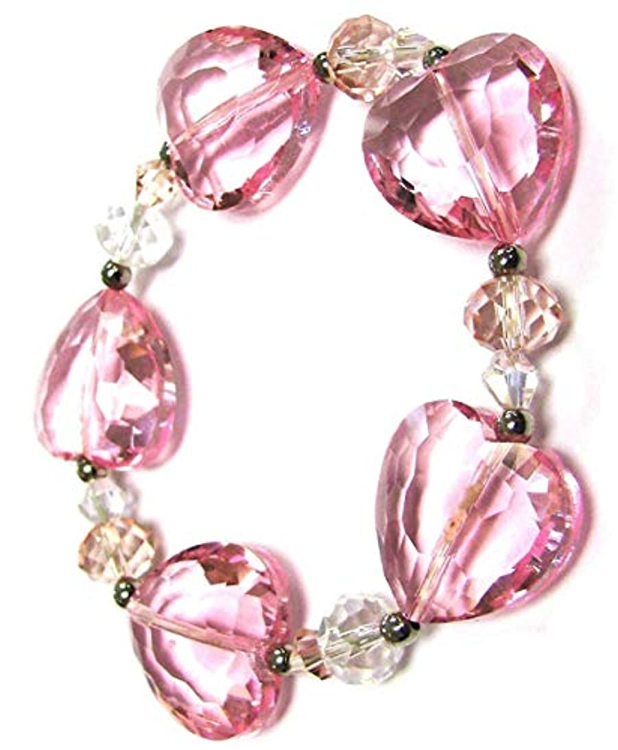 Linpeng Faceted Heart Glass Beads Women Stretch Bracelet, Pink vlgp445694671392