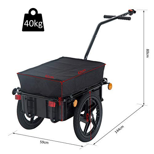 HOMCOM Bicycle Trailer Cargo Jogger Luggage Storage Stroller with Towing Bar - Black