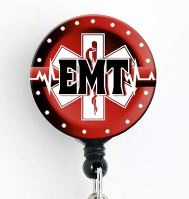 EMT Red Star of Life - Retractable Badge Reel with Swivel Clip and Extra-Long 34 inch Cord - Badge Holder/EMT/EMS