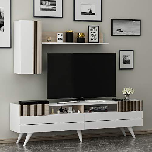 HOMIDEA Moon Set Soggiorno - Parete Attrezzata - Mobile TV Porta con 2 Armadietti per Salotto con mensola in Moderno Design (Bianco/Avola)