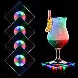 MEDOYOH 4 posavasos de acrílico multicolor para vasos, con luces LED de encendido/apagado, impermeables, para fiestas, bodas, compromisos, bares, Navidad