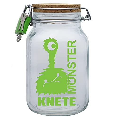 Spardose Monster Knete Grün Geld Geschenk Idee Transparent XL