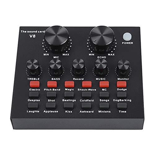 Garsent Externe Soundkarte, Audiomixer Externes USB-Headset Mikrofon Mobiler Computer PC Live-Soundkarte mit 18 Soundeffekten, 7 Verbindungsmethoden, 6 Effektmodi