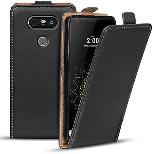 Verco Flip Cover für LG G5 Case, Flipstyle Schutzhülle für LG G5 Hülle Kunstleder Tasche vertikal klappbare Handyhülle, Schwarz