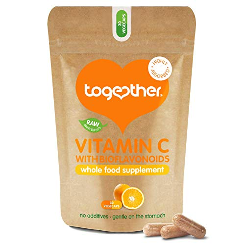 Vitamin C – Together Health – with Organic Citrus Fruits – Gentle & Easily Absorbed – Includes Naturally Occurring Bioflavonoids – Vegan Friendly – Made in The UK – 30 Vegecaps