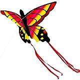 HSKB Drachen, Winddrachen 3D Einleiner Flugdrachen Flugspielzeug mit Drachenschnur und Streifenschwänze Polyester Stoff Perfekte Spielzeug für Kinder und Erwachsen Outdoor Aktivitäten Faltbar (Rot)
