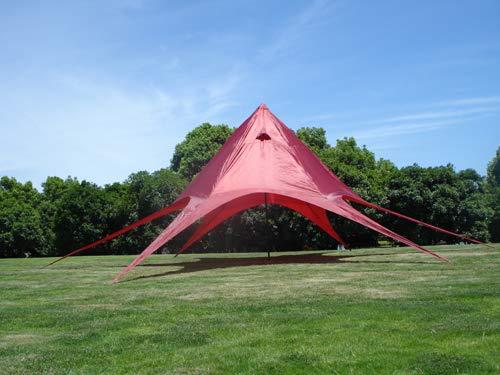 CLP Gazebo Tendone A Stella con 10 Metri di Diametro I Tenda Padiglione con Copertura di 15 M² da Giardino I Tendone per Feste, Colore:Rosso