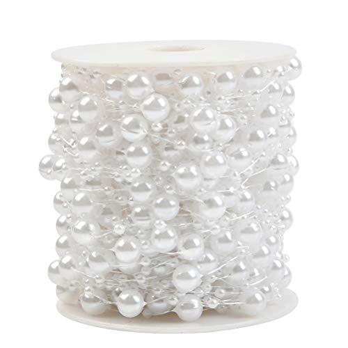 BUYGOO 30m Perlengirlande Perlenkette Deko - Angelschnur Perlenband Künstliche Perlen Girlande für DIY Handwerk Braut Haarschmuck Brautstrauß und Tischdeko Hochzeits Partydeko