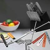 KKTECT Afilador de cuchillo Acero inoxidable giratorio de 360 ° con 4 muelas Afilador de cuchillos multifunción de ángulo fijo Juego de herramientas de afilado de cocina profesional