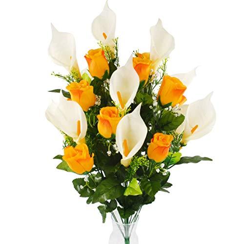 Herran Flor Artificial 24pcs / Set Flores Artificiales Calla Lily Rose Bouquet Flores Falsas Ramo Mesa Decoración de la Boda Inicio Ramo de Novia