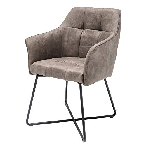 Invicta Interior Stuhl LOFT Vintage Taupe Microfaser mit Armlehne Esszimmerstuhl Armlehnenstuhl