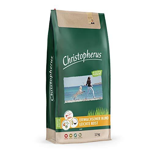Christopherus Light, Vollnahrung für den ausgewachsenen Hund mit Übergewicht oder geringer Aktivität, Trockenfutter, Geflügel, Reis, Gerste, Krokettengröße ca. 1 cm, Ausgewachsener Hund, 12 kg