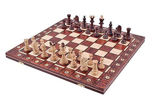KADAX Schachspiel aus Holz, 48 x 48 cm, klappbar, Schach für Erwachsene, Kinder, Anfänger, hochwertiges Schachbrett mit Figuren, Elegante Schachkassette für Haus, Reise, tragbar
