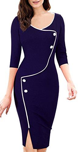 Homeyee Frauen elegante dunkelblaue Knopf Hülsen-dünne Abend-Partei-Geschäfts, figurbetontes Kleid B329 (EU 36 = Size S, Dunkelblau) - 2
