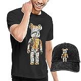 Tengyuntong sunminey Homme T- T-Shirt Polos et Chemises Jean Michel Basquiat Casual Men's Short-Sleeved T-Shirt and Cowboy Hat