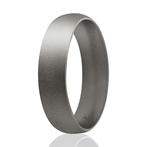 ROQ Silicone Rings for Men and Women 6mm Silicone Rubber Wedding Ring Band Beveled Metallic Platinum colors - Size 12