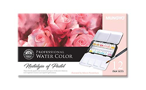 Mungyo Professional Half Pan Size Water Colors Set in Tin Case/Integral Mixing Palette in The lid (Pastel Tone 12 Colors)