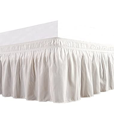 Biscaynebay Wrap Around Bed Skirt, Elastic Dust Ruffle Easy Fit Wrinkle and Fade Resistant Solid Color Hotel Quality Fabric, Queen Size, Ivory