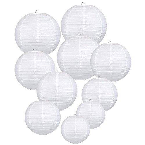 Trofou Lanternes en Papier|Lampion Papier Blanc|Lampion Papier Suspensions Ronde Pour Décoration de Mariage, Noël,Maison,Anniversaire,Fête etc(Blanc 10pcs)