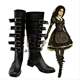 WSJDE Juego Popular Alice Madness Returns Alice Cosplay Zapatos de Fiesta de Halloween Botas Negras Elegantes por Encargo