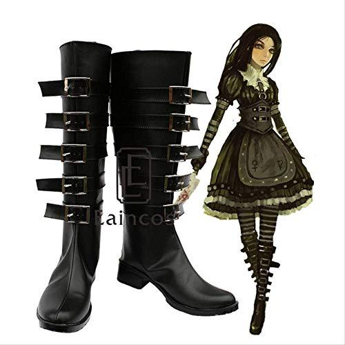 WSJDE Spiel Alice Madness kehrt zurück Alice Cosplay Halloween Party Schuhe Black Fancy Boots Custom Made