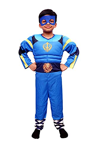 Chamsworld Flying Jatt Costume for Kids, Birthday Gift, Superhero Role Play, School Fancy Dress Competitions, Haloween Costume, Please Refer Dropdown for Size. (Small (3-4) Years)