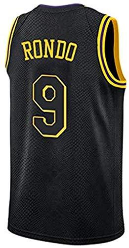 ATI-HSKJ NBA Basketball Maglie, Los Angeles Lakers Rajon Rondo 9# Maglie Respirabile Freddo Tessuto Swingman Maniche Canotta Abbigliamento,A,XXL(185~190cm/95~110kg)