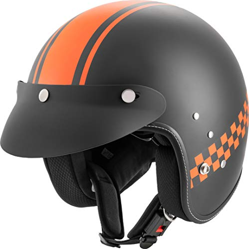 Rocc Clasic Pro TT Motorrad Jethelm Schwarz Matt/Orange S (55/56)