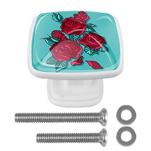 Con tornillos para cocina, aparador, armario, baño, pomos de armario para armarios de cocina, pomos de cristal transparente de 1.18 pulgadas de diámetro, hermoso ramo de rosas rojas