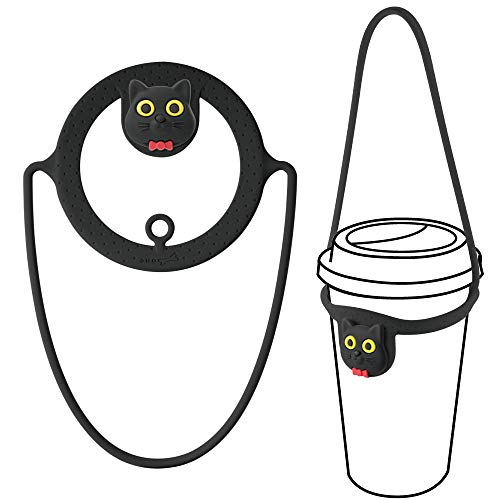 Bone Cup Tie, Portable Cup Carrier, Togo Drink Carrier for Delivery, Reusable Takeout Coffee Carrier with Handle Tie, Silicone Insulated Drink Carrier for Hot Coffee Cup/Keepcup/Travel Tumbler- Miao Cat (Black)